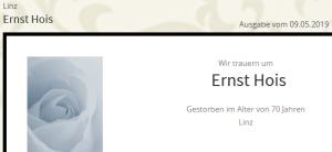 Todesanzeige zu Ernst Hois, Linz